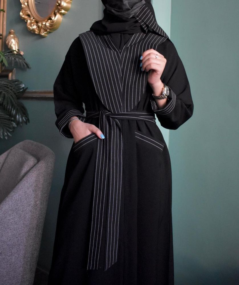 عباية قماش الإبداع جيوب امامية بقماش مقلم Shirt Dress Dresses Fashion