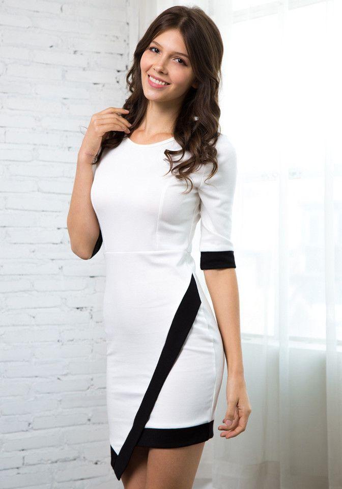 Like venus black and white asymmetrical dress up women london