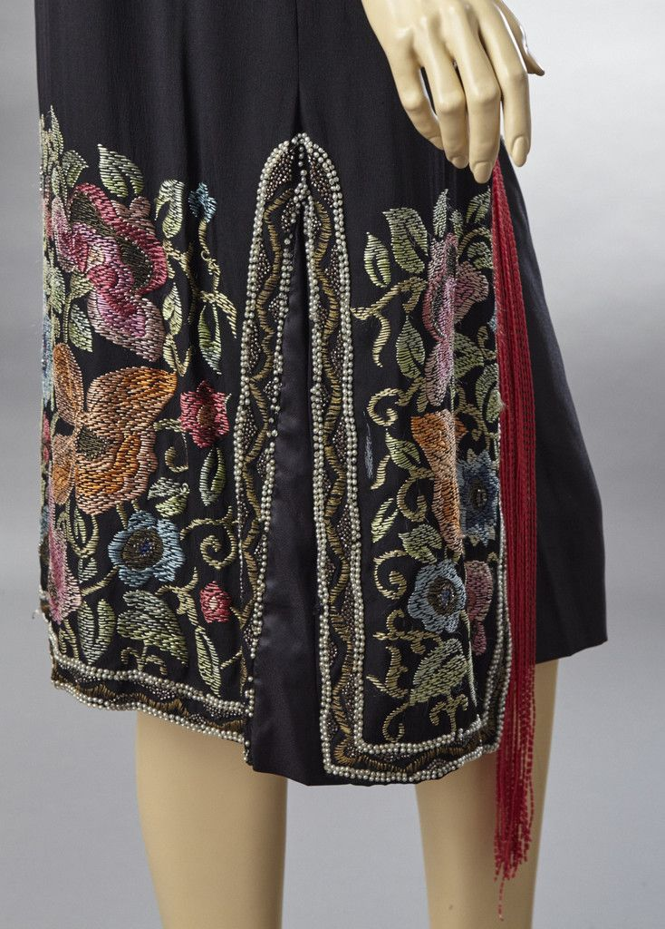 1920 Black Silk Dress with Red Beaded Fringe and Embroidered Design. Detail