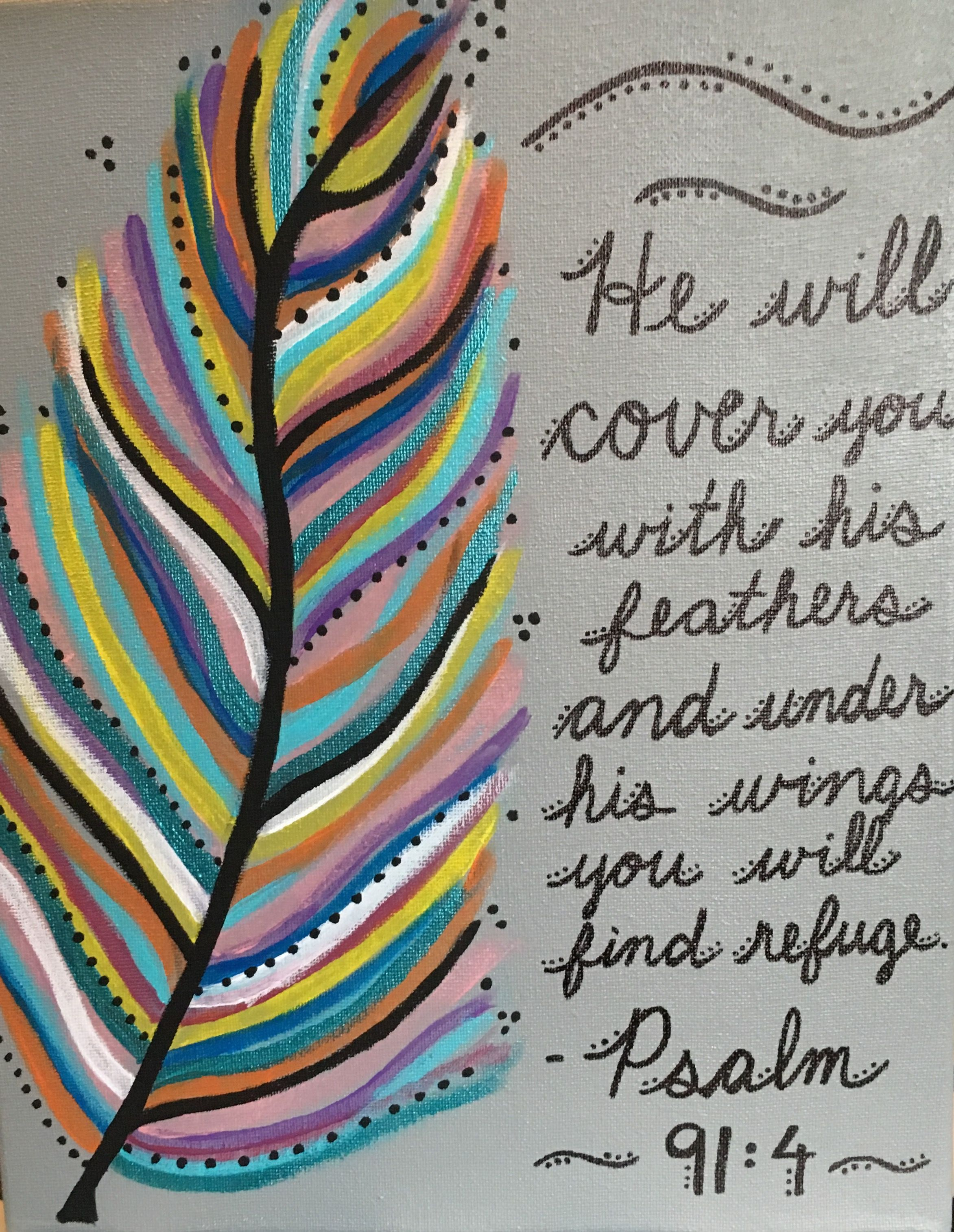 Bible Verse And Feather Painting Done On 11x14 Canvas With Acrylic Paints Scripture Painting Bible Verse Painting Feather Painting