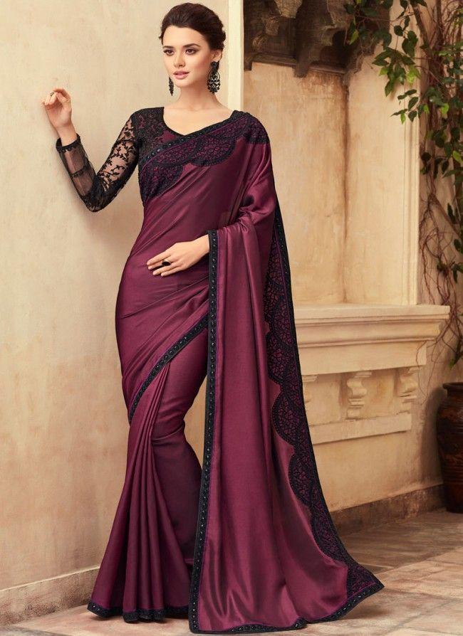 d7dc5c7841 Buy Purple Embroidered Wedding Designer Traditional Saree Online    Sareeslane.com