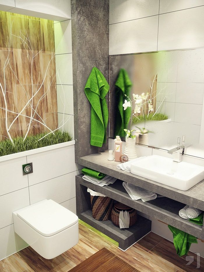 natural bathroom design ideas with large mirror and stone cabinet