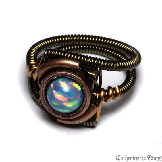 Steampunk Jewelry - Ring - LAB created OPAL - No.2 (Custom size available - see description) on Etsy, Sold