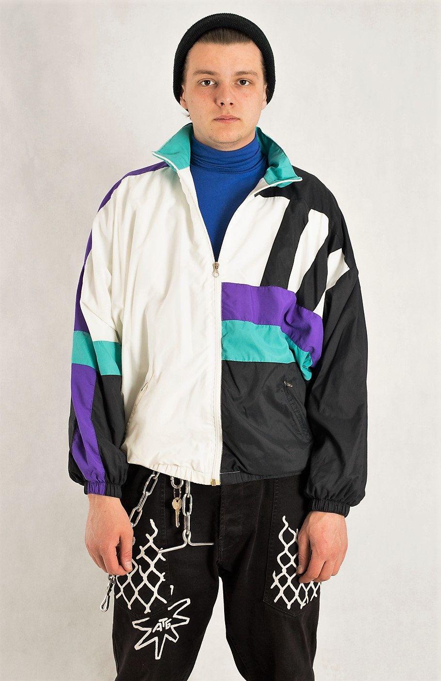 Vintage 90s Sport Color Block Windbreaker Jacket Vintage Etsy Vintage Sportswear Vintage Clothes 90s Windbreaker Jacket