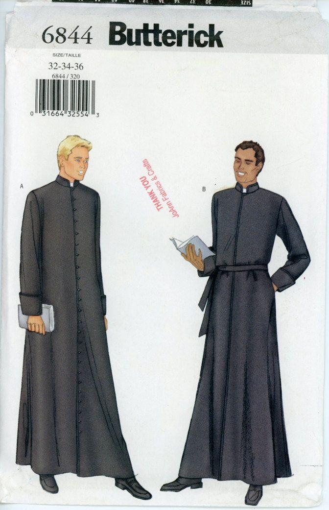 Butterick 6844 Mens Cassock Robe Pattern Liturgical Vestment Button ...