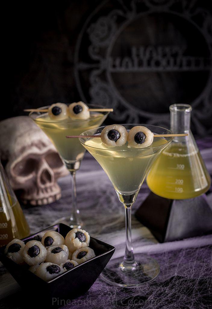 Creepy Eyeball Martini (Lychee, Matcha and Blood Orange Martini) www - halloween cocktail ideas