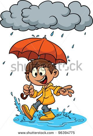 Cartoon Kid Playing In The Rain Vector Illustration All In