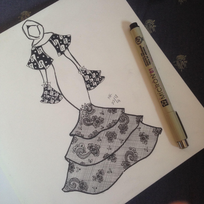 Dress Dengan Motof Batik Parang Dipadupadankan Dengan