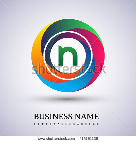 N letter colorful logo in the circle. Vector design template elements for your application or company identity. - stock vector