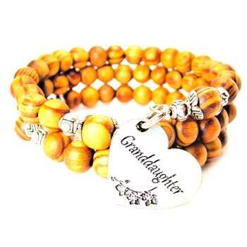 NATURAL WOOD WRAP BANGLE GRANDDAUGHTER HEART WITH FLOWERS BRACELET - See more at: http://www.chubbychicocharms.com #Family #Love #Heart #HandMade