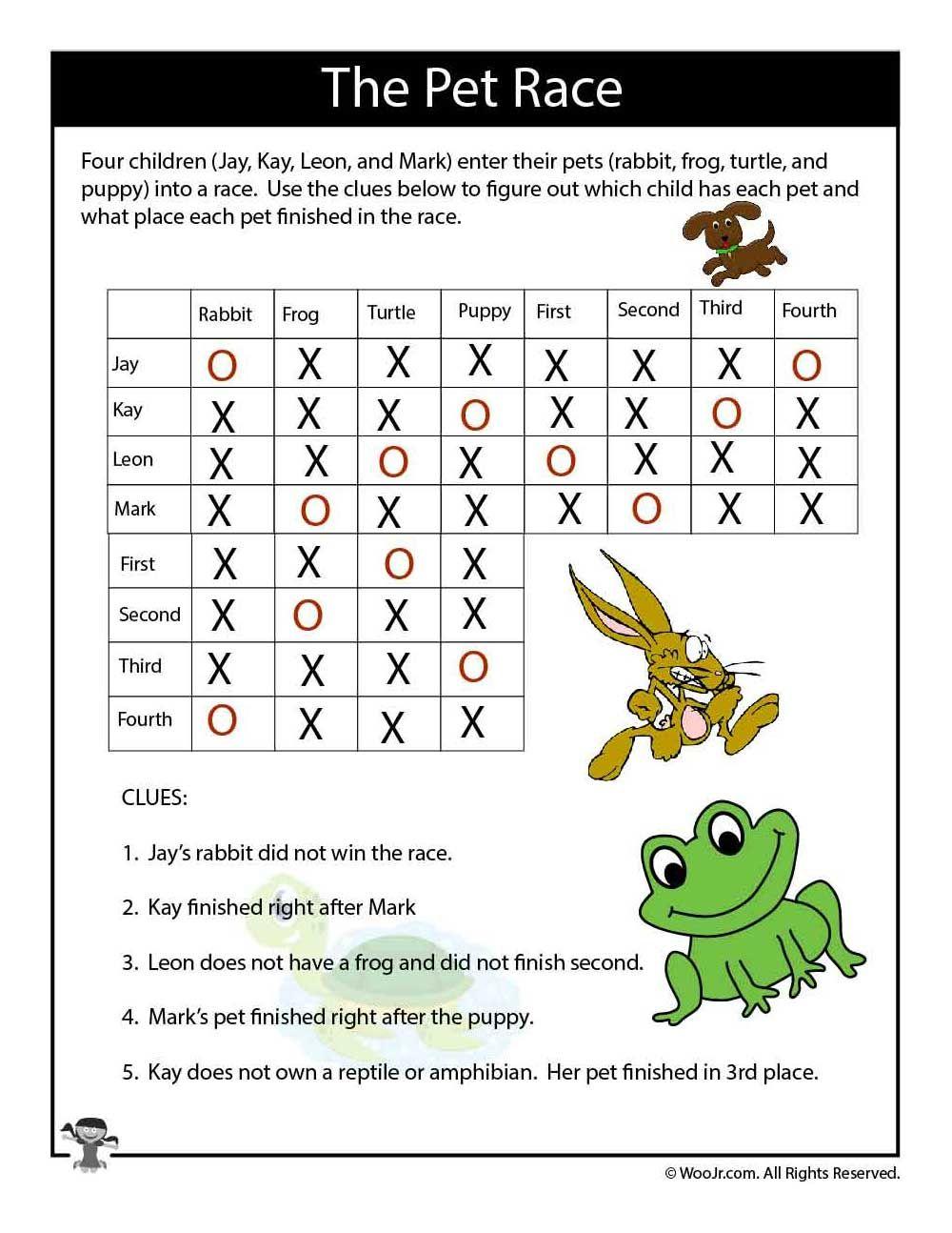 Pets Expert Logic Puzzle Answers Woo Jr Kids Activities Puzzles For Kids Logic Puzzles Math Logic Puzzles