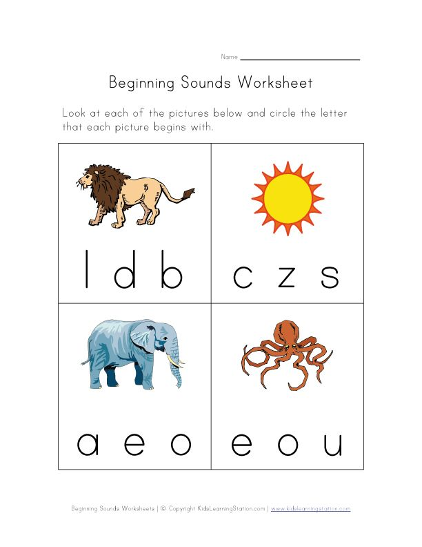 beginning sounds worksheet – Initial Sound Worksheets for Kindergarten
