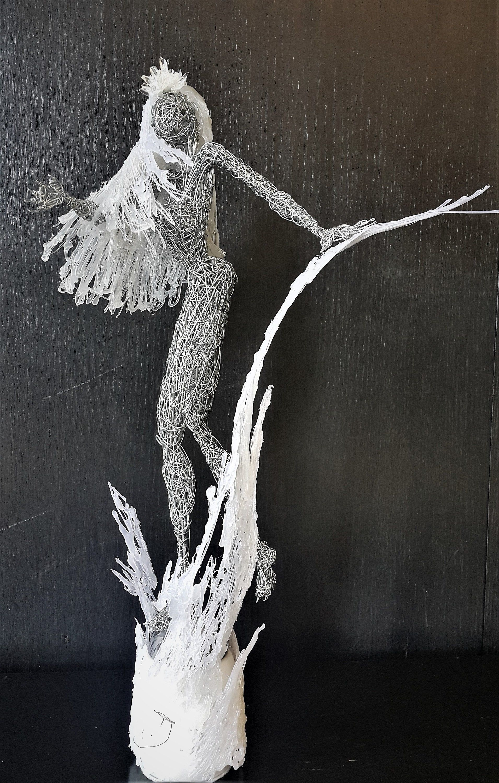 Ice Queen Sculpture Christmas Snow Fairy Steel Wire Art