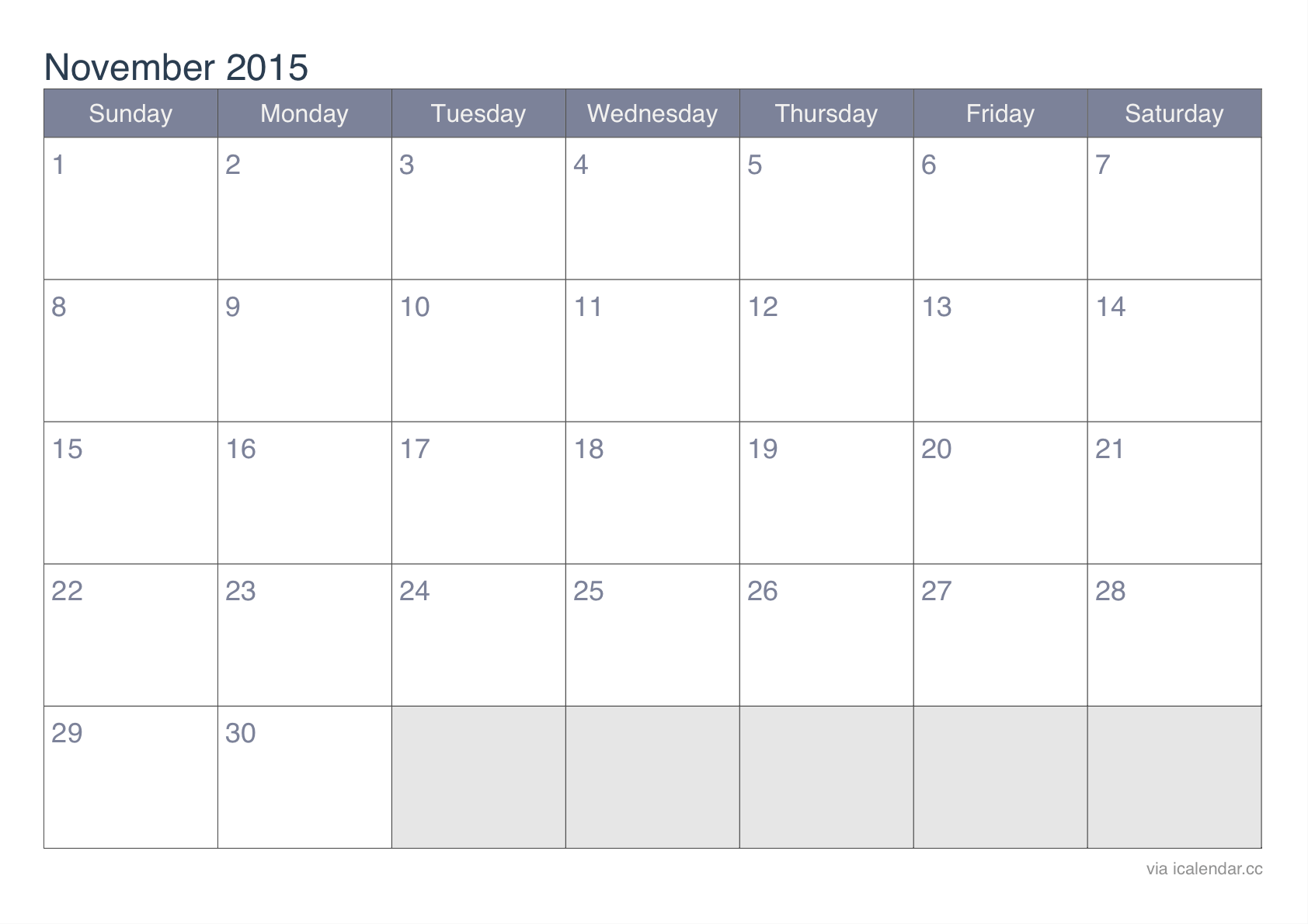Feel Free to Download Calendar 2015 November Canada and November