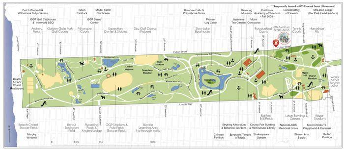 Golden Gate Park Activities Map San Francisco Recreation Parks