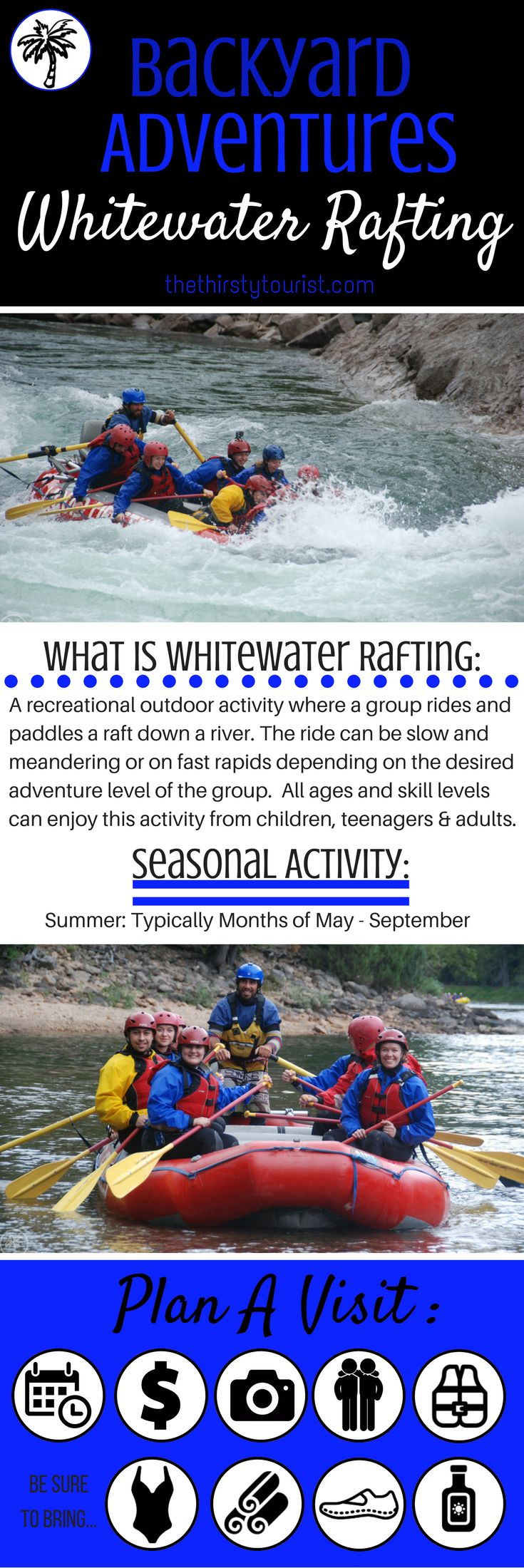 The Thirsty Tourist's Backyard Adventure Crib Sheet for Whitewater Rafting.