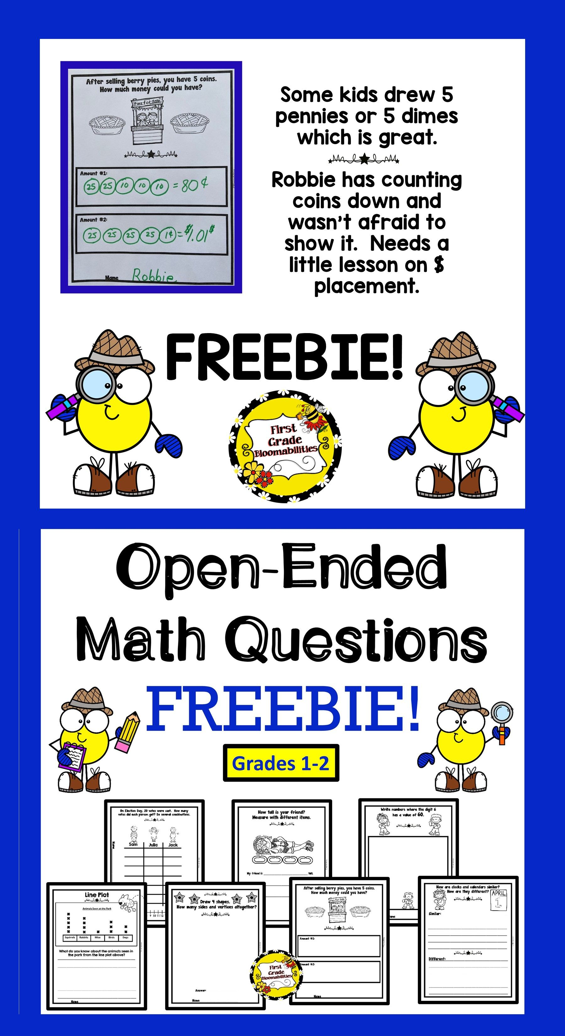 Freebie Open Ended Math Questions
