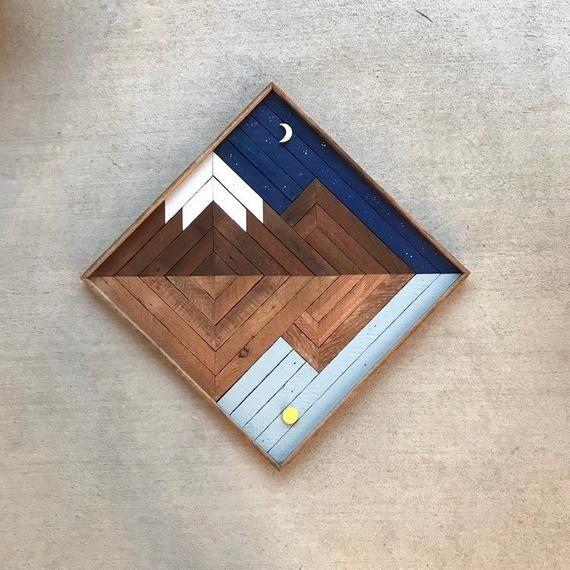 Night vs. Day - Mountain Wood Art - Reclaimed Wood Art - Wood Wall Art - Wooden Wall Art - Mountain #reclaimedwoodwallart