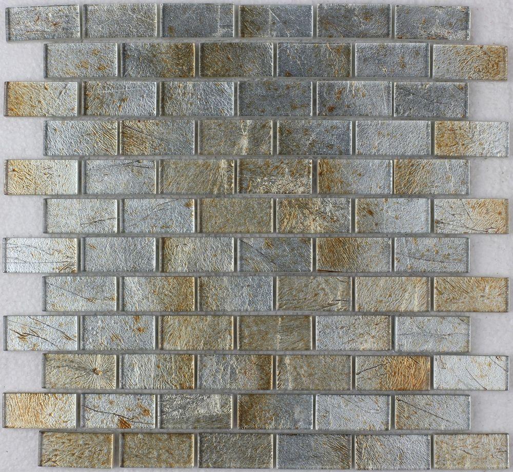 - Details About Gold Silver Foil Glass Mosaic Tile 1