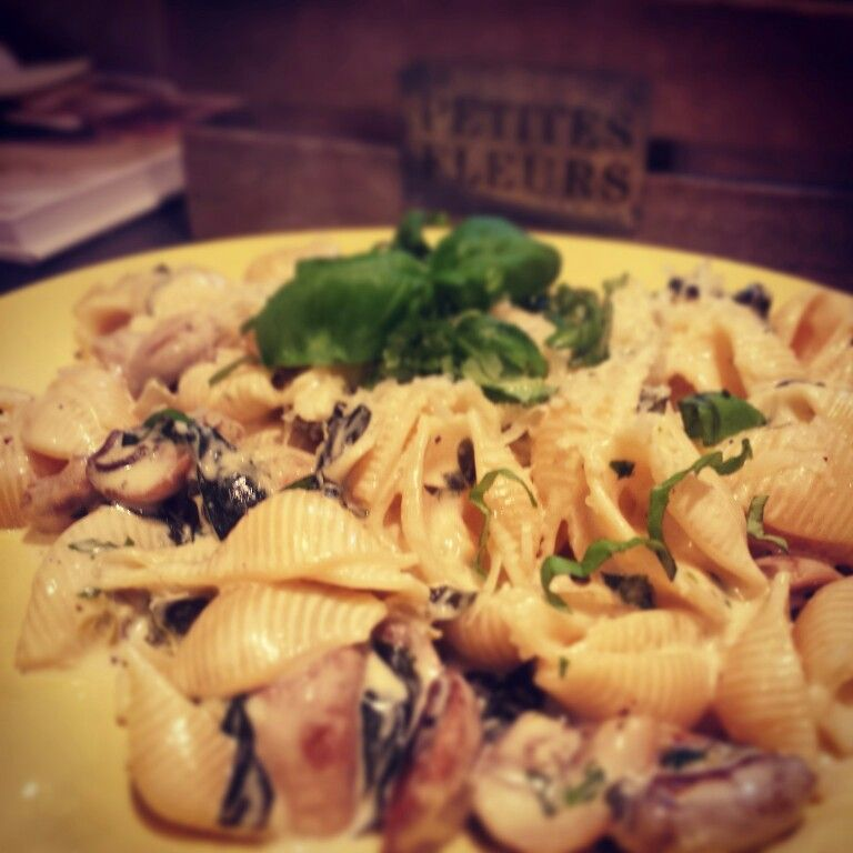 spinach and mushroom pasta with a white wine cheese sauce