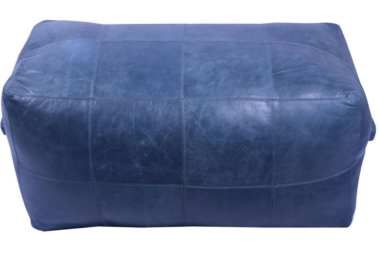 32 Inch Long Rectangular Leather Upholstered Patchwork Ottoman In Dark Blue Finish Patchwork Ottomans Comfortable Leather Chairs Ottoman