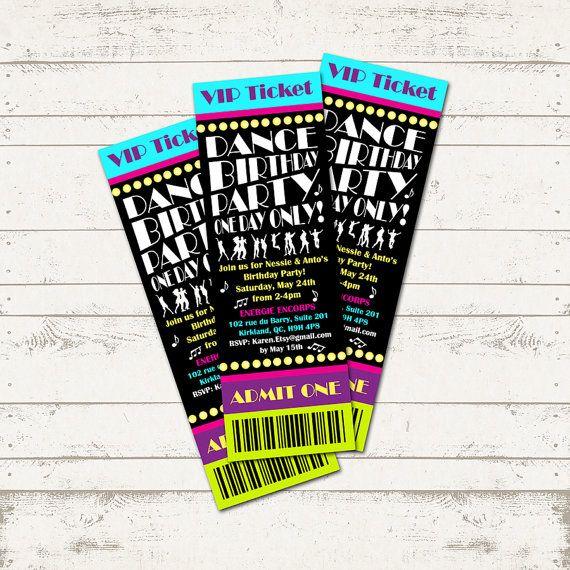 Dance Party Birthday Invitation - Ticket Invitation - Musical - ticket invitation