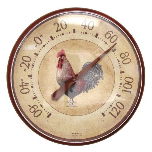 Acurite 01893 12 5 Inch Wall Thermometer Rooster Outdoor Thermometer Weather Instruments Chicken Gifts
