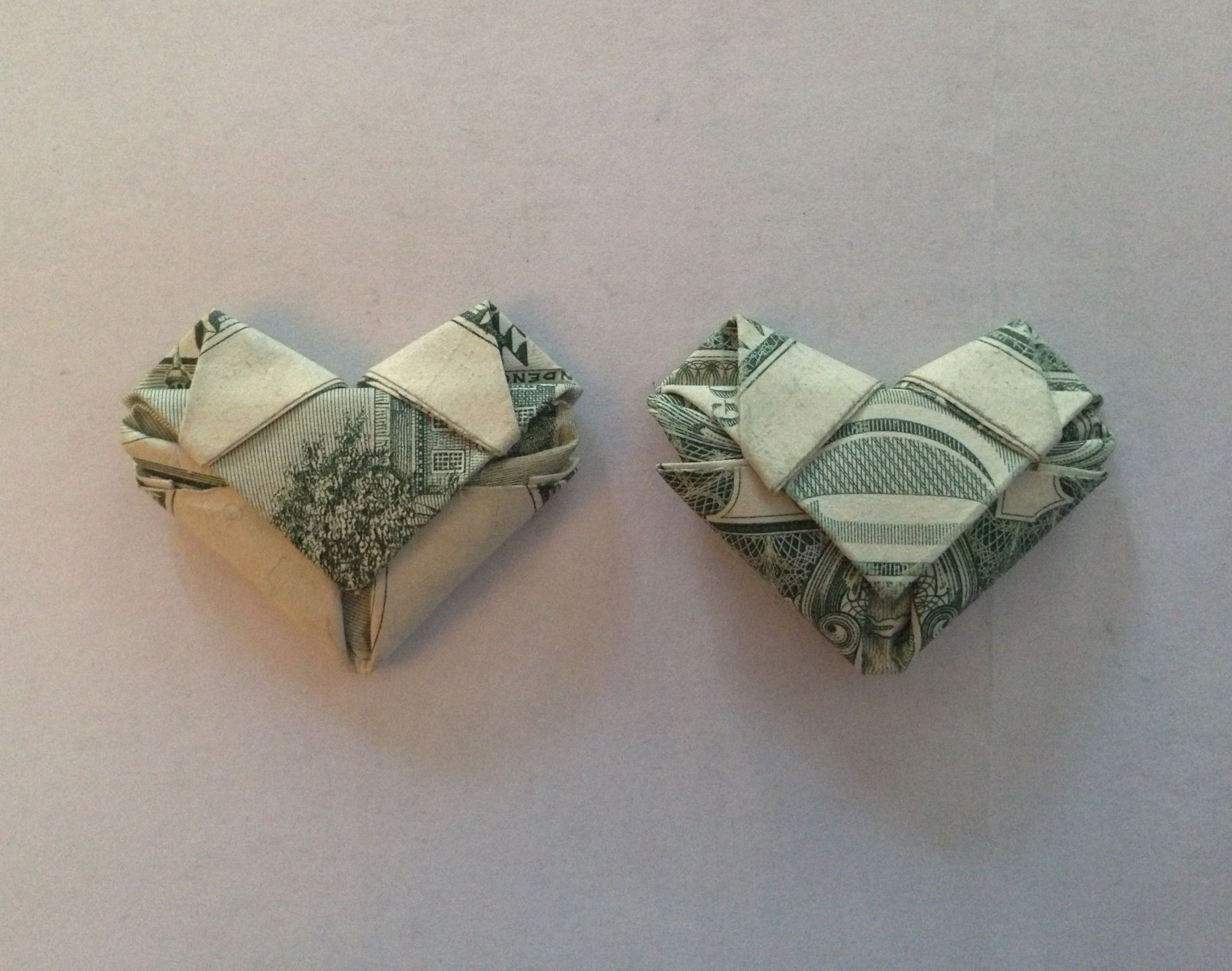 how to fold dollarany bill into a heart origami