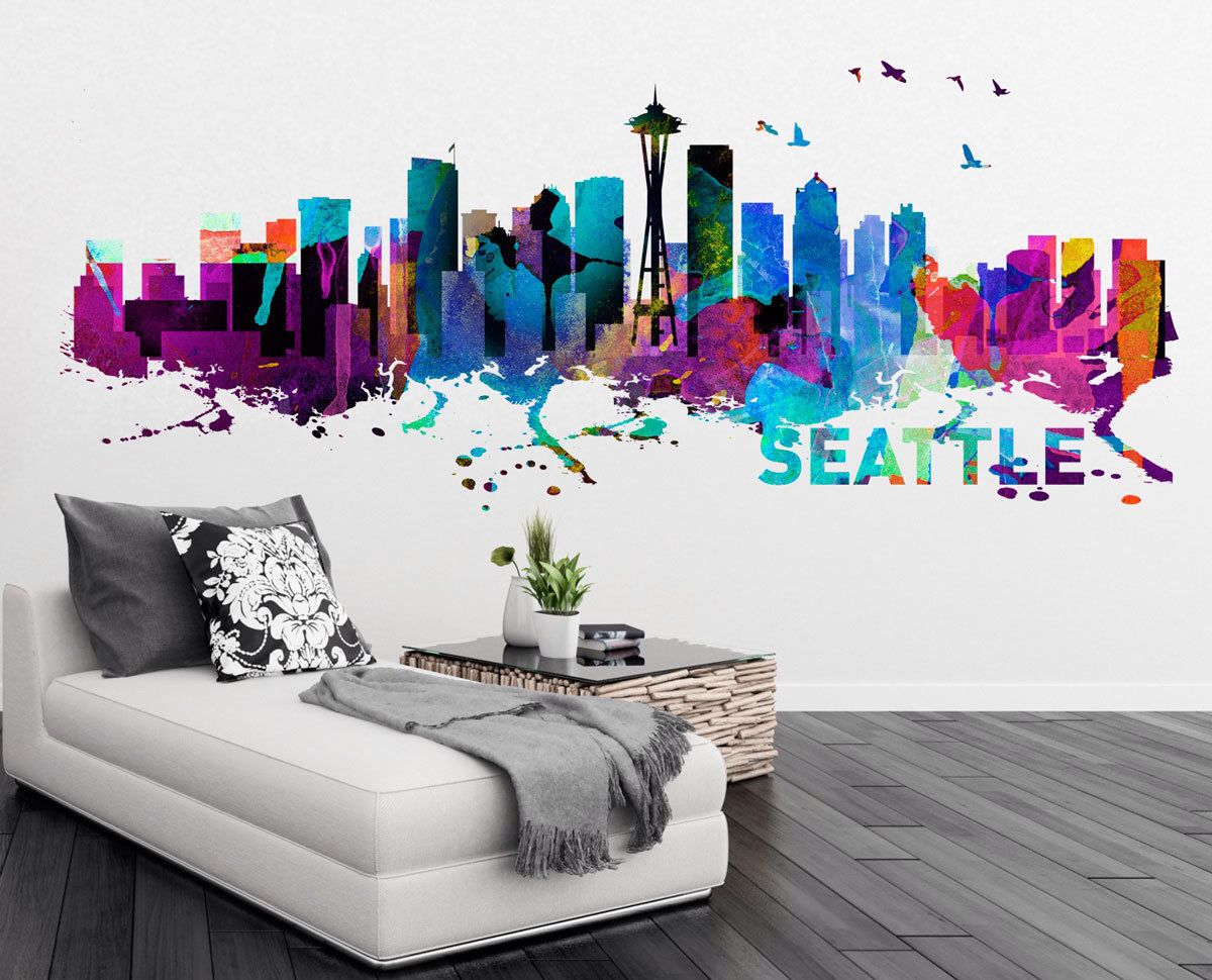 seattle skyline watercolor print effect wall sticker home