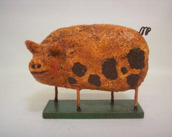 Primitive Paper Mache Folk Art  Pig