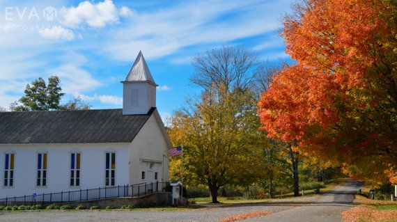 Fall Photograph, autumn, leaf, golden, brown, harvest time,White Church, American Flag on Etsy, $20.00