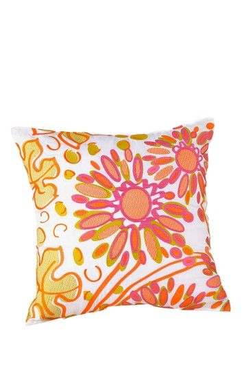 "Floral 20"" Decorative Pillow - Pink/Orange by Peking Handicraft on @HauteLook"