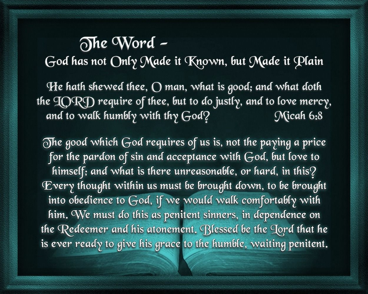 The Word God has not Only Made it Known, but Made it
