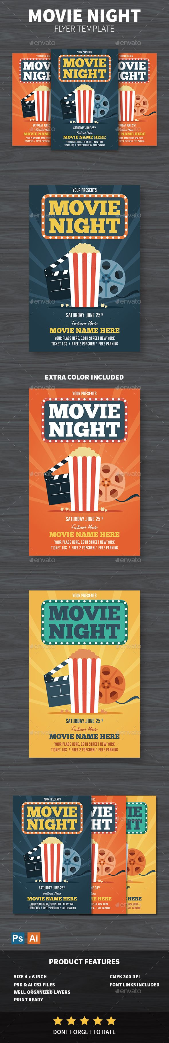 movie night flyer template psd ai flyer templates pinterest