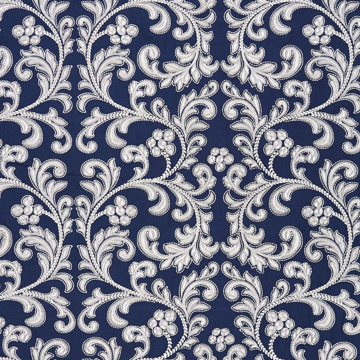 Stylish Indigo Embroidery Decorating Fabric By Scalamandre