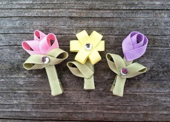 Pinzas de pelo de flor - juego de 3 - Spring Clips, pinzas de pelo de la flor de la cinta, niño pelo pinzas de pelo, accesorios del pelo de las niñas, sistema de Clip de pelo de niño