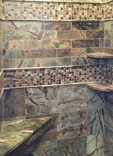 This entire shower is done in Rainforest Green marble tiles in ...