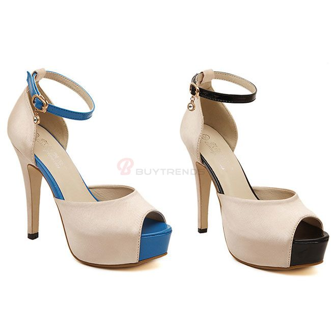 High Heels Ankle Strap Pendant Buckle Round Peep Toe Sandals Women's Prom Shoes