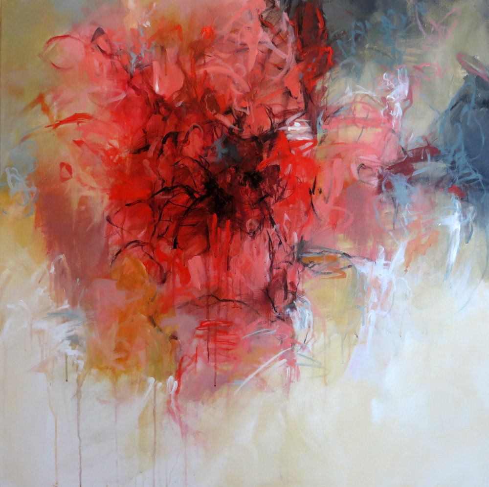 """Bloom"" by Debora Stewart. Abstract acrylic painting on 2"" deep gallery wrap canvas with painted sides. 36"" x 36"" Finished with satin varnish and signed by artist. Large red abstract flower in red."