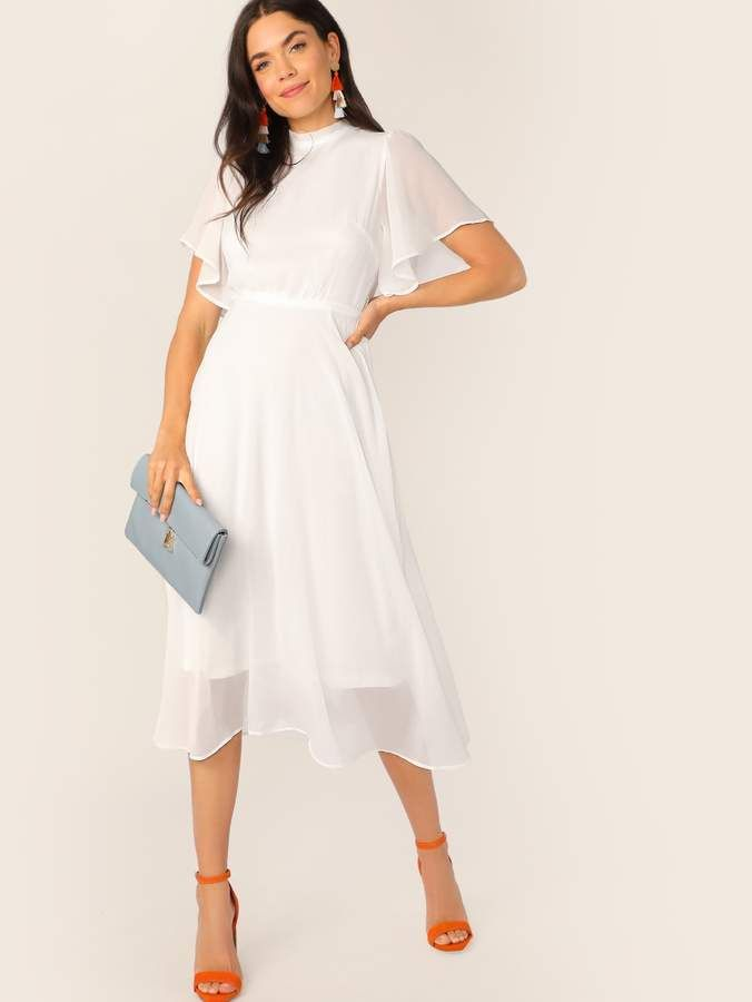 c3c5db6916 Shein Flutter Sleeve Frill Trim Tie Back Solid Dress | Products in ...