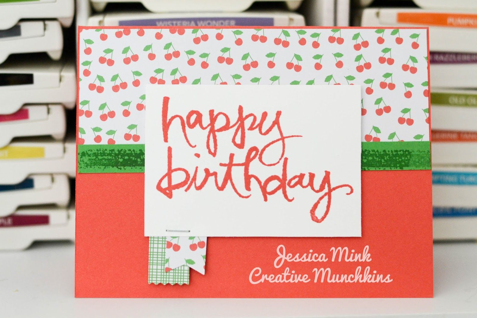 Watercolor words. Cherry on top. Stampin up annual catalog 2015-2016.watermelon wonder.