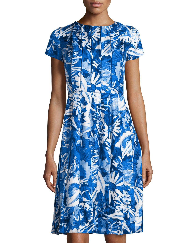 Oscar de la Renta Floral-Print Pleated Short-Sleeve Dress, Lapis Blue, Women's, Size: 14