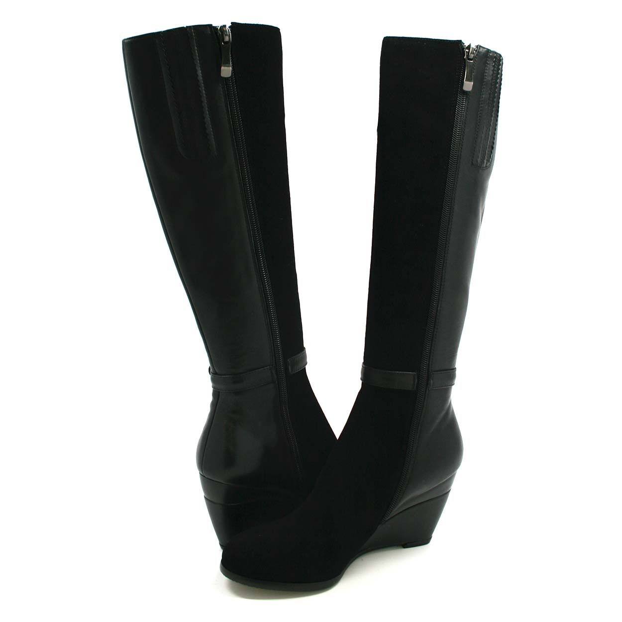 f7fe3aa5067 SoleMani Women's Ronit Black Leather Boot Slim Calf - $179.99 : Slim ...