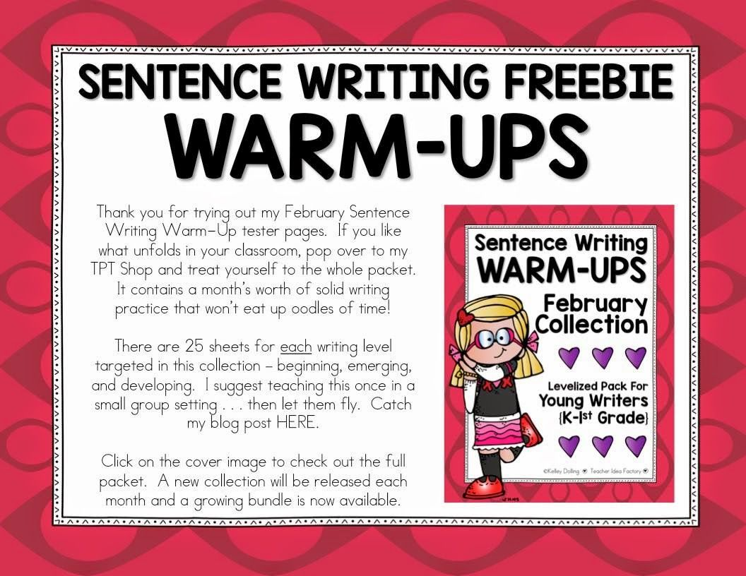 Sentence Writing Warm Up Freebie Differentiated Practice 3 Levels For K 2