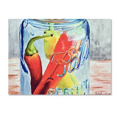 "Alcott Hill Ball Jar with 3 Peppers Painting Print on Wrapped Canvas Size: 14"" H x 19"" W x 2"" D"