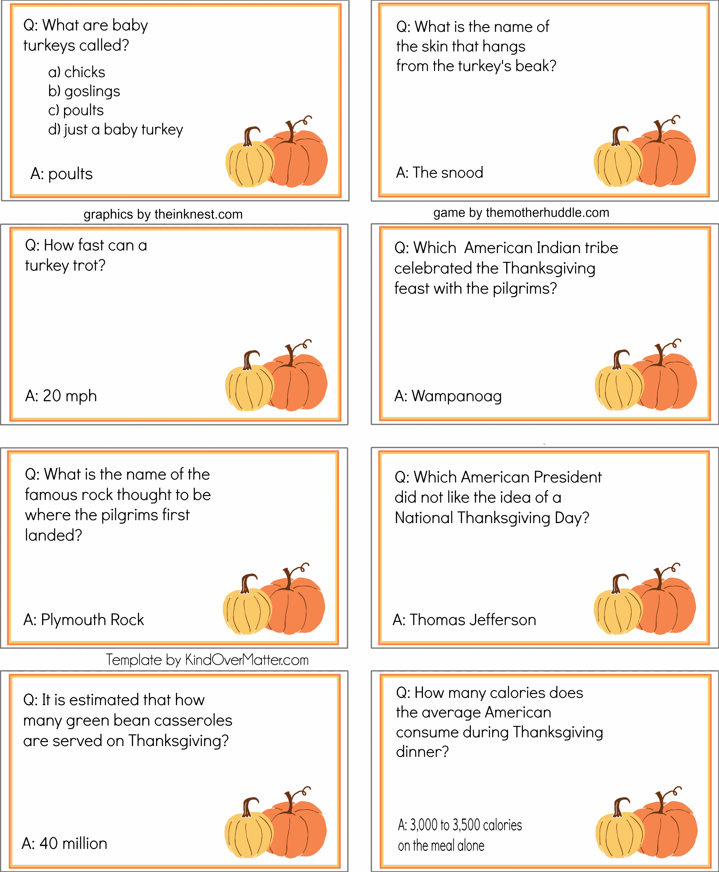 Free Printable Thanksgiving Dinner Trivia