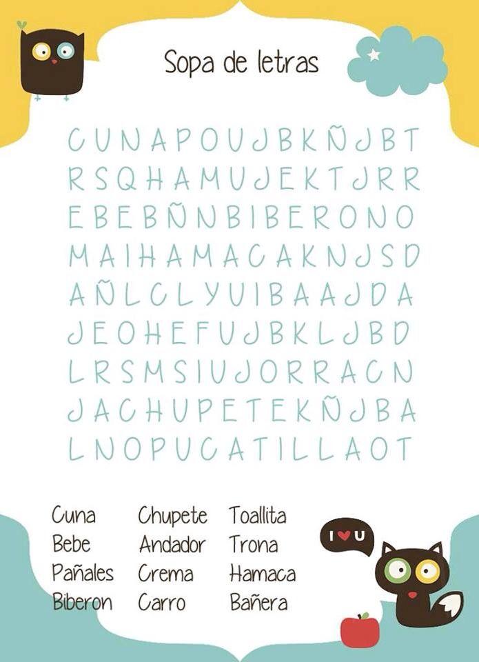 Sopa De Letras Bay Pinterest Baby Shower Baby Shower Games Y Baby