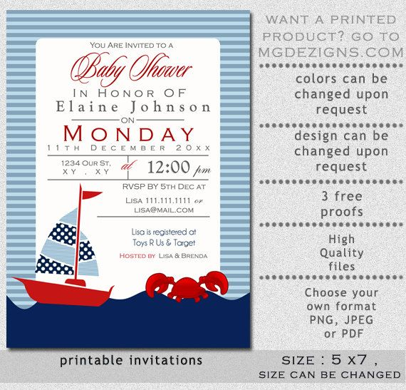 Printable Blue Boat and Crab Nautical Baby Shower invites