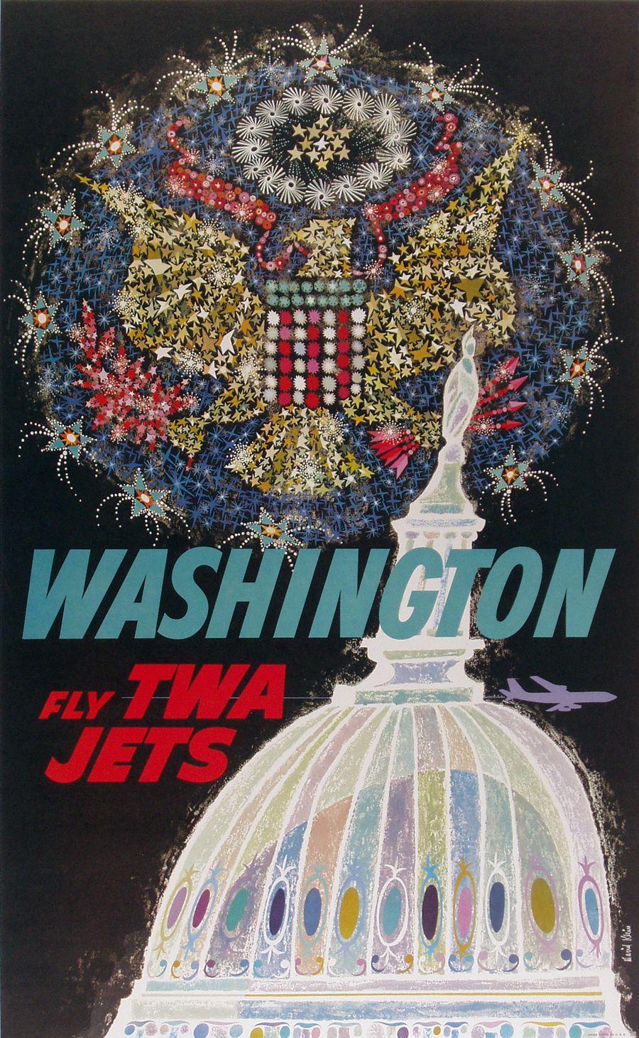 c.1965 #Washington, D.C. -- Fly TWA. Artist: David #Klein. #poster #ephemera #TWA