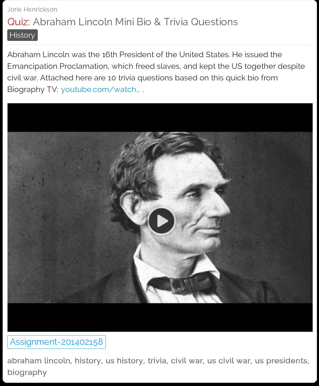 Abraham Lincoln Mini Bio Amp Trivia Questions